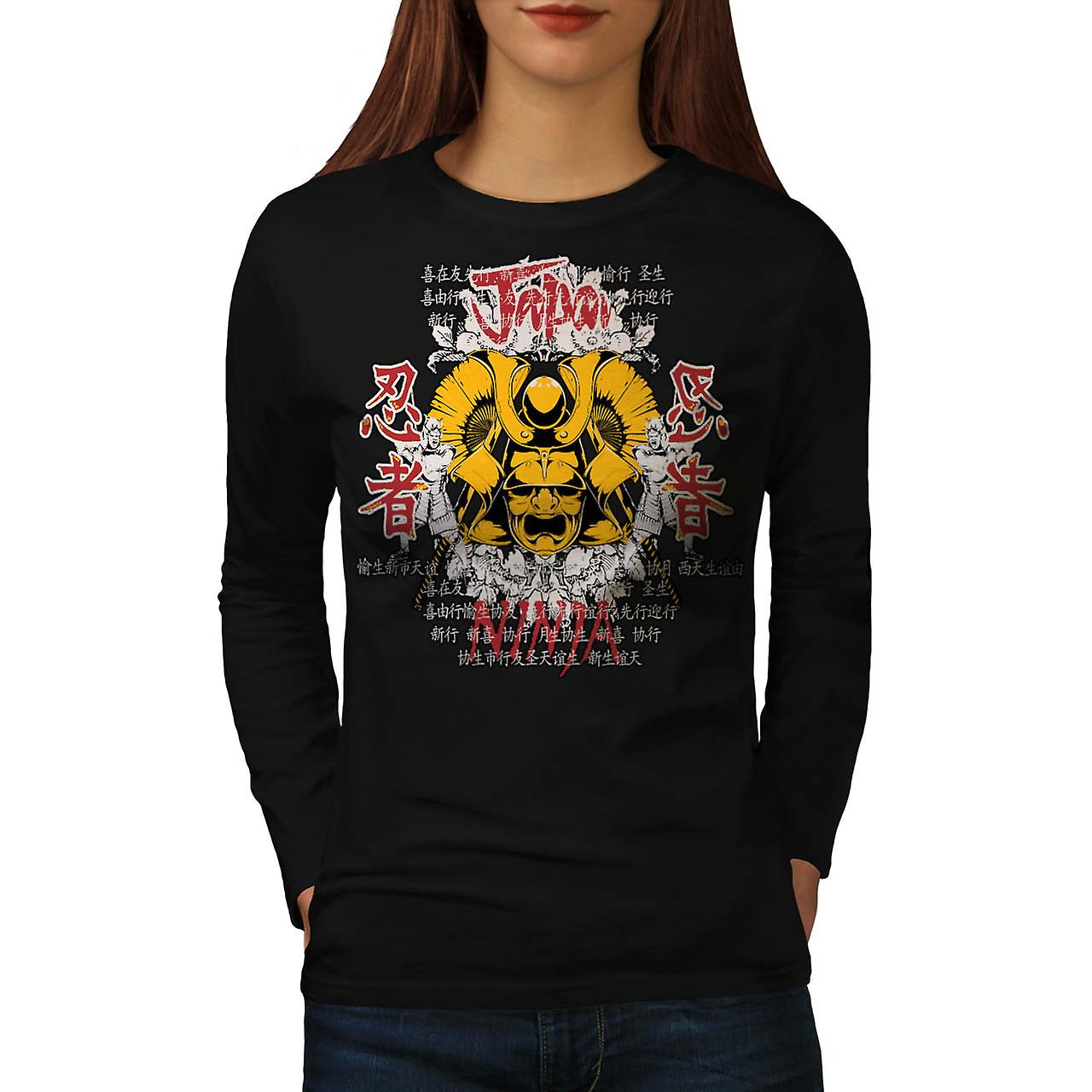 Japan Warrior Mask Ninja Face Women Black Long Sleeve T-shirt | Wellcoda