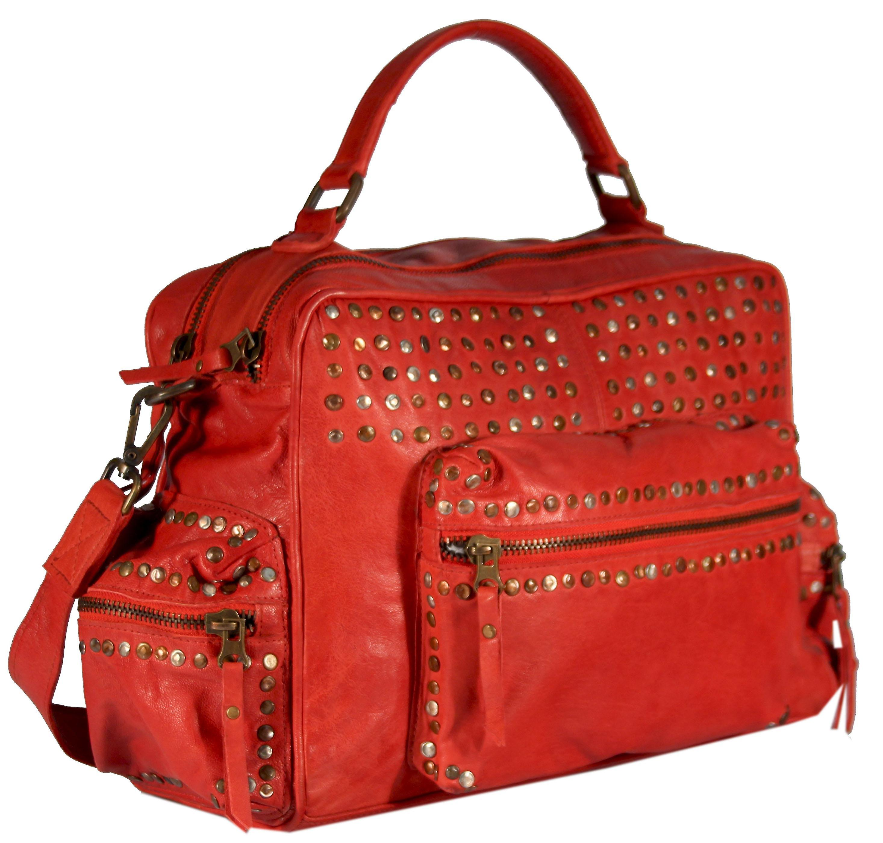 Covino - bag form leather tote UsedLook rivets leather ladies bag