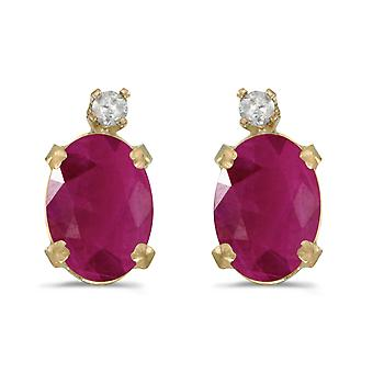 14k geel gouden ovaal Ruby en Diamond Earrings