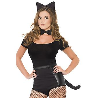 Smiffys Black Cat Set Kit Womens Fancy Dress Fur Ears Tail Bow Tie Halloween