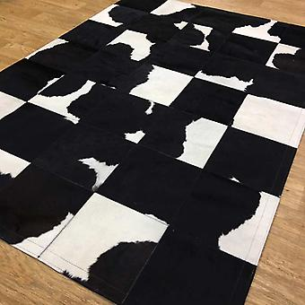 Rugs - Patchwork Leather Cubed Cowhide - Black & White