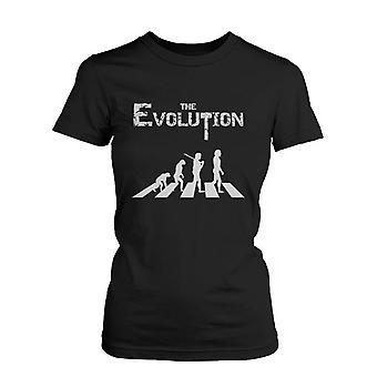 Women's The Evolution Funny Graphic Black T-Shirt