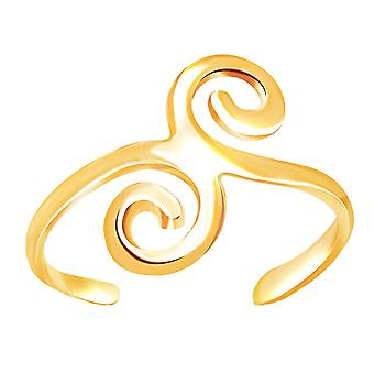 14K Yellow Gold Swirl Design Cuff Style Adjustable Toe Ring