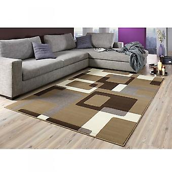 Designer velour carpet Retro Brown / cream 101602