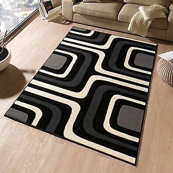Designer velour carpet Flash grey black cream | 102325