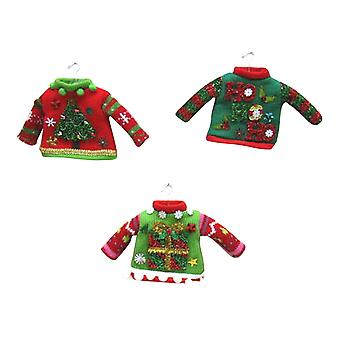 Miniature Tacky Red Green Sweaters Set of 3 Christmas Holiday Ornaments