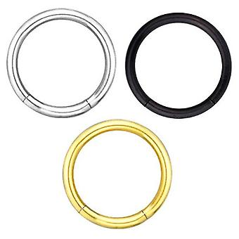 3 Set Package Segment Piercing Ring 1,2 mm, Silver, Black, Gold Plated | 6-12 mm