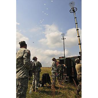 US Army paratroopers train beside Ukrainian paratroopers Poster Print