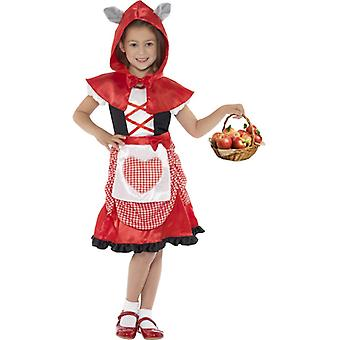 Miss hood costume red dress and hooded Cape with attached Wolf ears size S