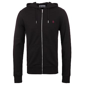 Pinguino vero nero Zip attraverso Pique Hooded Sweatshirt