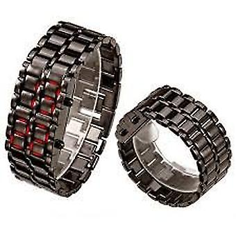 Boolavard® TM Black/Silver Stainless steel Bracelet Watch Iron Samurai LED Watches for man woman