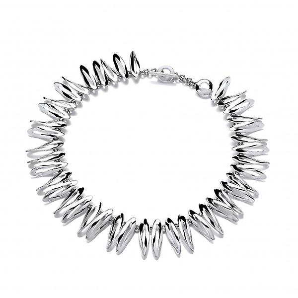 Cavendish French Do the Twist' Silver Ovals Necklace