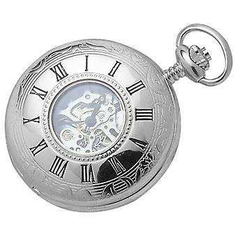 Woodford Chrome Plated Skeleton Half Hunter Mechanical Pocket Watch - Silver