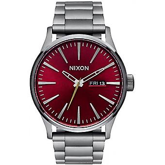 Nixon The Sentry SS Watch - Gunmetal Grey/Deep Burgundy
