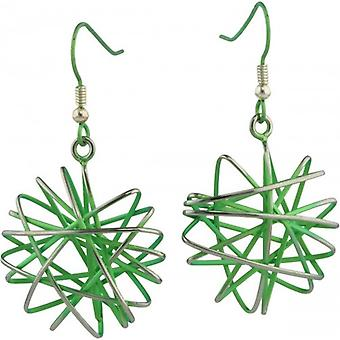 Ti2 Titanium Large Round Cage Chaos Hook Earrings - Fresh Green