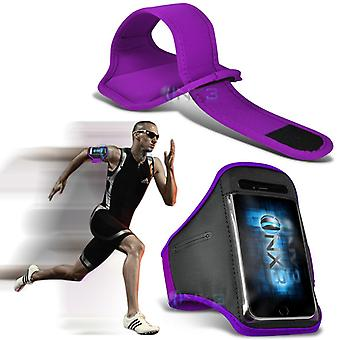 Samsung Galaxy J1 (2016) Fitness Running Jogging Cycling Gym Armband Holder Case Cover (Purple)