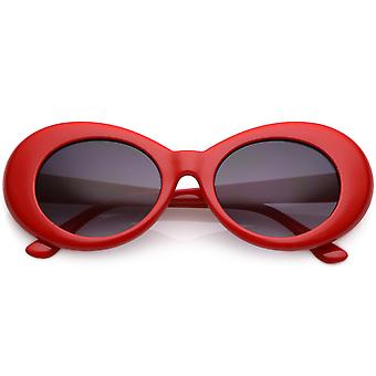 Retro Colorful Oval Sunglasses Tapered Arms Neutral Colored Gradient Lens 50mm