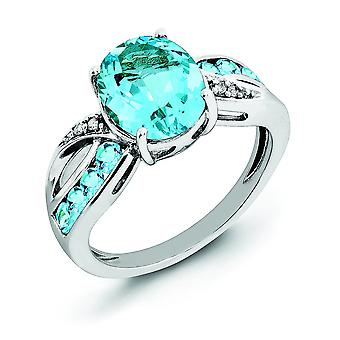 Sterling Silber Diamant und leichte Schweizer blauer Topas Ring - Ring-Größe: 5 bis 10
