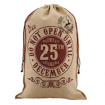 Christmas 'Do Not Open Until 25th December' Natural Hessian Sack