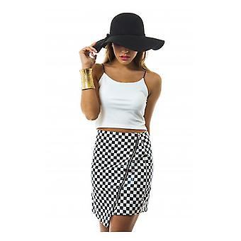 The Fashion Bible Road Trip Dogtooth Vinyl Skirt