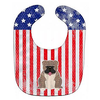 Patriotic USA English Bulldog Grey Brindle  Baby Bib