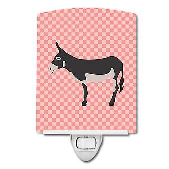 American Mammoth Jack Donkey Pink Check Ceramic Night Light