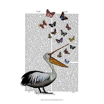 Pelican & Butterflies Poster Print by Fab Funky (13 x 19)