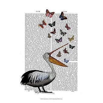 Pelican & Butterflies Poster Print by Fab Funky (13 x 19)