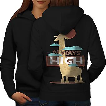 Giraffe Always High Women BlackHoodie Back | Wellcoda
