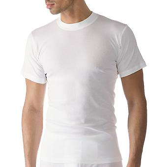Mey 49103-101 Men's Casual Cotton White Solid Colour Short Sleeve Top