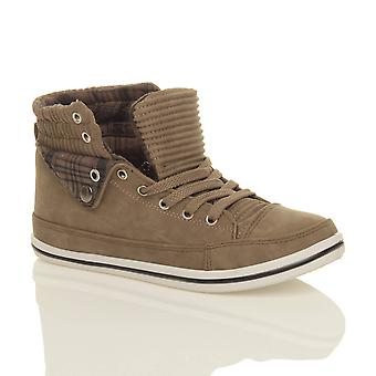 Ajvani womens flat lace up sports high hi top pumps trainers shoes