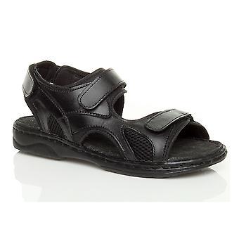 Ajvani mens baixa couro liso genuíno de calcanhar & laço tira ajustável sandália flexível confortável