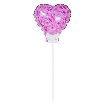 Folienballon mit Stab Herz mit rosa Rosen Blumenstecker