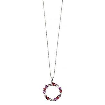 Elements Gold Multi Garnet Circle Pendant - Purple/Red/White Gold