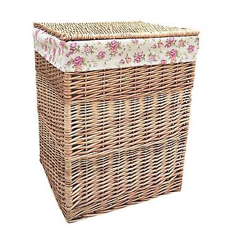 Large Light Steamed Square Laundry Baskets with Garden Rose Lining