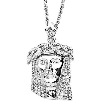 Iced out bling religion 3D JESUS silver
