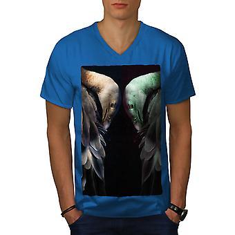 Ostrich Bird Art Animal Men Royal BlueV-Neck T-shirt   Wellcoda