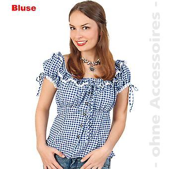 Las señoras traje de Oktoberfest blusón blusa de Baviera guinga azul traje de vaquera para mujer