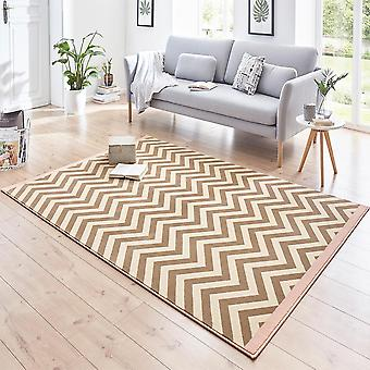 Designer velour carpet Meridian Rosa Brown cream