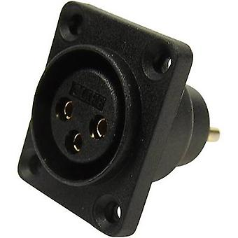 XLR connector Sleeve socket, straight pins Number of pins: 3 Black Cliff CP30070 1 pc(s)
