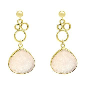Gemshine - damer - örhängen - bubblor - 925 silver - förgyllt - DRUZY - Rose Quartz - 4,5 cm