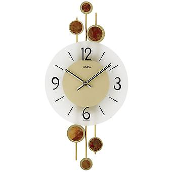 Wall clock quartz clock decorative metal pads mineral crystal quartz wall clock