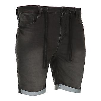 Sub level men's sweat denim pants of shorts black