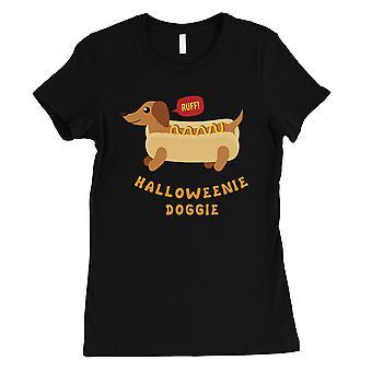 Halloweenie Doggie Womens Black T-Shirt