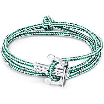Anchor and Crew Union Silver and Rope Bracelet - Green Dash
