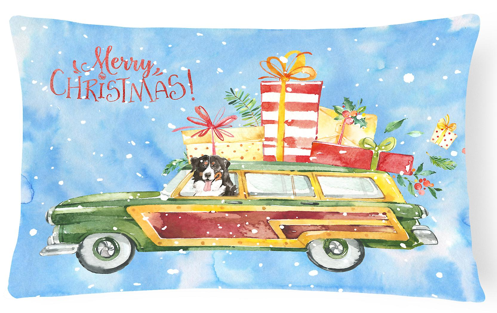Mountain Dog Decorative Pillow Canvas Christmas Fabric Bernese Merry DHE2IY9W