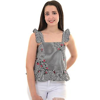 Ladies Sleeveless Gingham Check Ruffle Frill Strappy Floral Embroidered Peplum Top