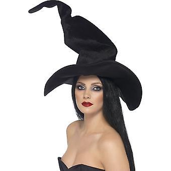 Smiffy groß und kurvenreichen Hexen Hut, schwarz