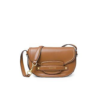 MICHAEL KORS LIGHT BROWN CARY MEDIUM SADDLE BAG