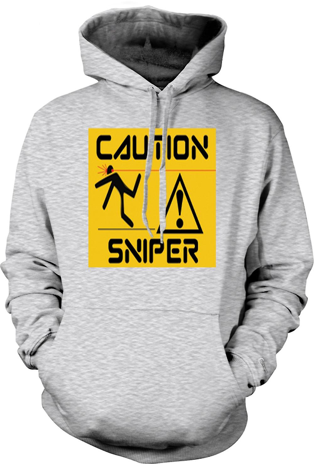Mens Hoodie - Caution - Sniper Warning Sign